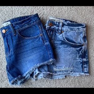 2 vintage high waisted jean shorts
